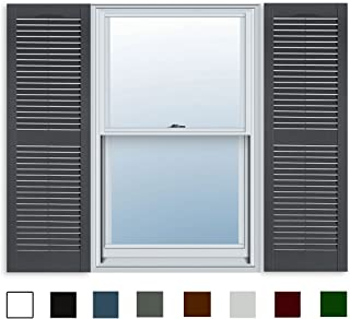 15 Inch x 51 Inch Standard Louver Exterior Vinyl Window Shutters, Dark Gray (Pair)