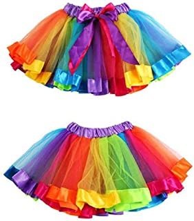 Jugendhj Babysuit 🇨🇦🇨🇦Girls Kids Petticoat Rainbow Pettiskirt Bowknot Skirt Tutu Dress Dancewear