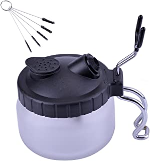 Naturebelle Airbrush Cleaning Pot, Clean Paint Jar with Air Brush Holder + Nozzle Cleaning Brush Set
