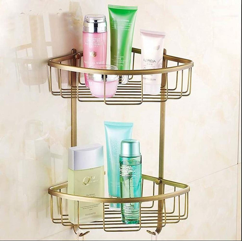 LUDSUY Solid Brass Bathroom Accessories Set Folding Makeup Mirror Luxury Antique Bathroom Hardware Set, Traingular Badket