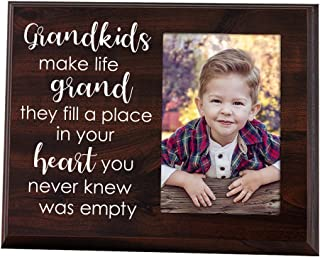 Elegant Signs Grandkids Make Life Grand 4x6 Photo Holder - Grandma Gifts - Grandparents Picture Frame