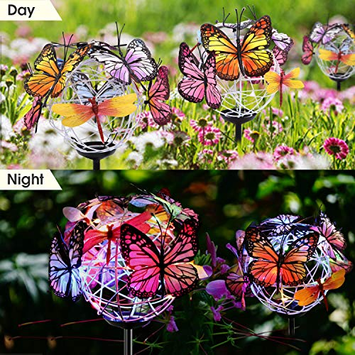 Solar Garden Lights, Butterfly Outdoor Decor Lights Waterproof, 1 Pack of 2 Lights with 18 Butterflies and Dragonflies, 7-Color Changing LED Garden Stake Lights, Yard, Garden, Lawn, Patio Decor