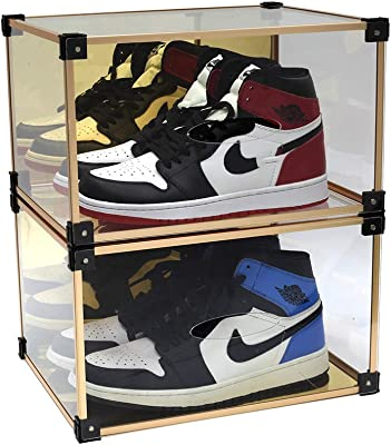 Caja de zapatos Mplerven de acrílico transparente, apilable, caja de almacenamiento para zapatos de hombre y mujer, caja de almacenamiento, rodamientos de 200 libras (2 unidades): Amazon.es: Hogar