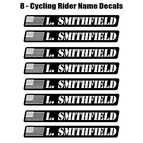 8 piece Custom Bicycle Frame Name Black and White Military Style USA Decal Sticker Set - road bike cycling mountain bike - Benjamin Style