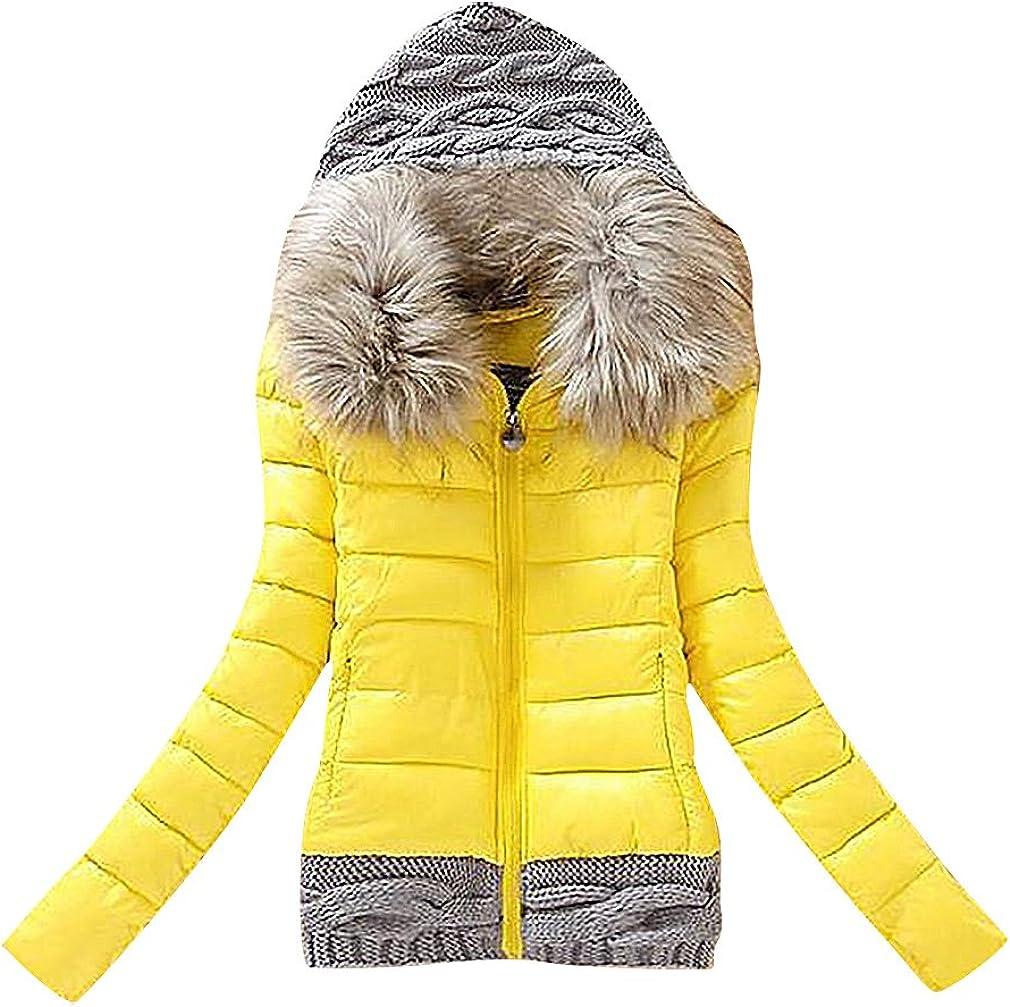 US&R Women's Puffer Short Faux Fur Windbreaker Waterproof Fitted Padded Jacket