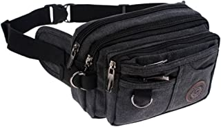 Genda 2Archer Vintage Canvas Waist Bag Multiple Pocket Fanny Pack Hip Purse Belt Bag Bum Bag for Sports Travel (Black)