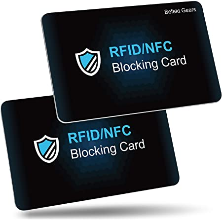 RFID/NFC Blocking Card by Befekt Gears [2 Pack], Credit Card Protector, Contactless Cards Protection for Credit cards, ID Cards, Passport etc. - One Card for Entire Wallet-No Batteries Required