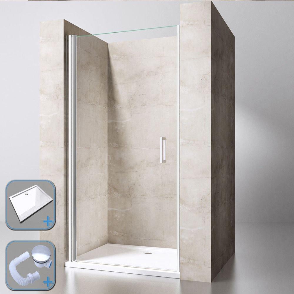 Pivot de ducha con bisagra puerta Walk-in Protector de almacenaje Reversible de cristal doble (1700 mm X 800 mm piedra bandeja de ducha, 800 mm x 1900 mm sola puerta de cristal):