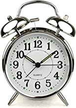 TRIXES Classic Silver Chrome Effect Alarm Clock with Large Print 12 Hour Display