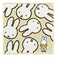 ミニタオル 約23×23cm タオルハンカチ ミッフィー miffy 綿100 おばけミッフィー 抗菌防臭加工 可愛い (イエロー)