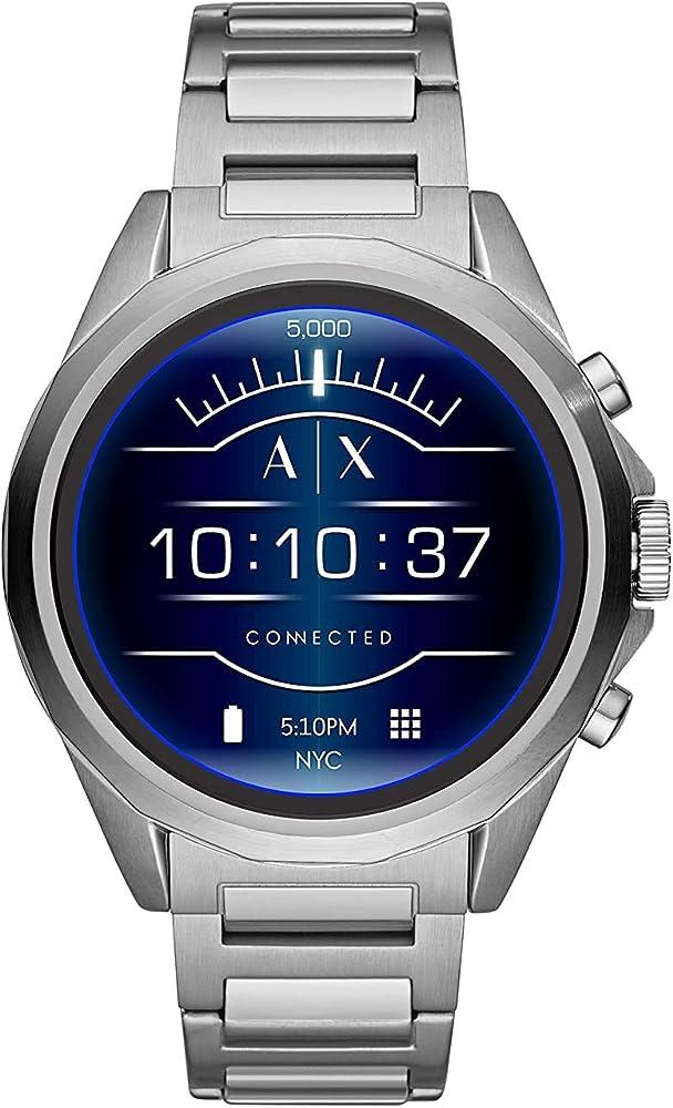 Armani exchange - smartwatch con touchscreen da uomo, in acciaio inossidabile , android os 4.4+ AXT2000J