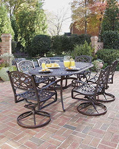 Hot Sale Home Styles 5555-335 Biscayne 7-Piece Outdoor Dining Set, Rust Bronze Finish