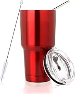 30 oz. Tumbler Double Wall Stainless Steel Vacuum Insulation Travel Mug with Crystal Clear Lid and Straw, Water Coffee Cup for Home,Office,School, Ice Drink, Hot Beverage,Red