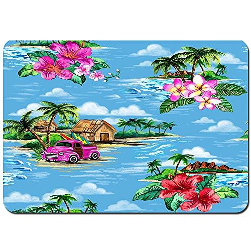 Badtoalett golv dörrmatta sömlös upprepad mönster vintage hawaiiansk barkduk halkfri sovrum mjuk matta, maskintvättbar