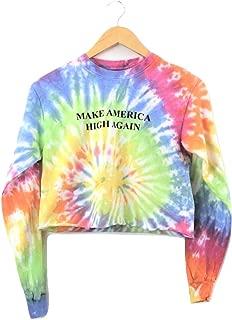Make America High Again Pastel Rainbow Tie-Dye Long Sleeve Graphic Crop Top