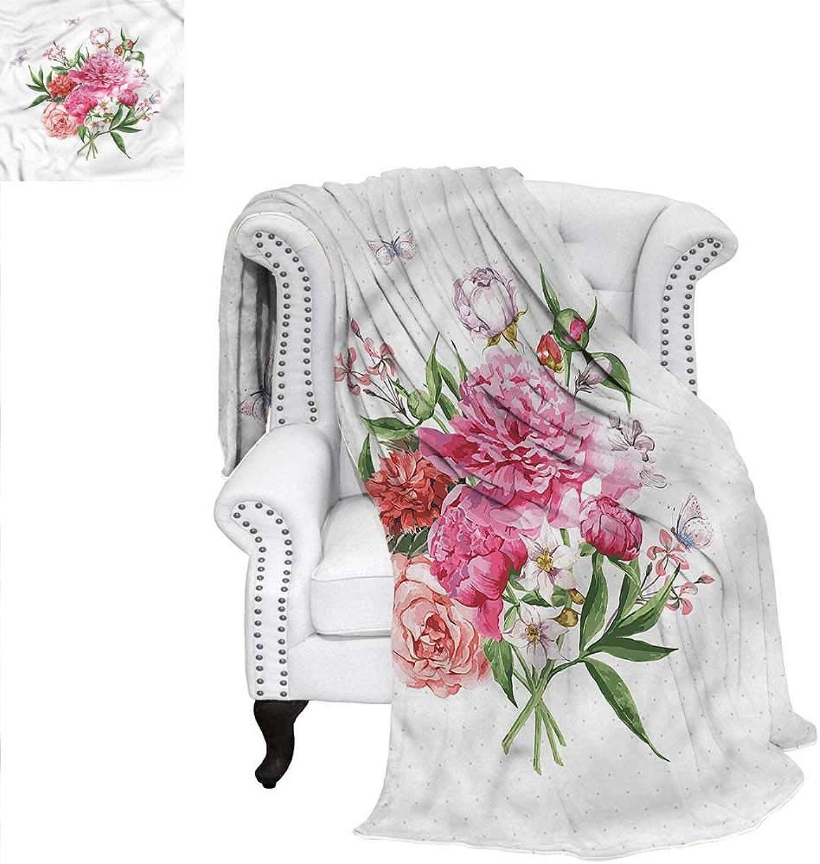 RenteriaDecor Floral Flannel Blanket Spring Wildflower Bouquet Blanket 60 x50