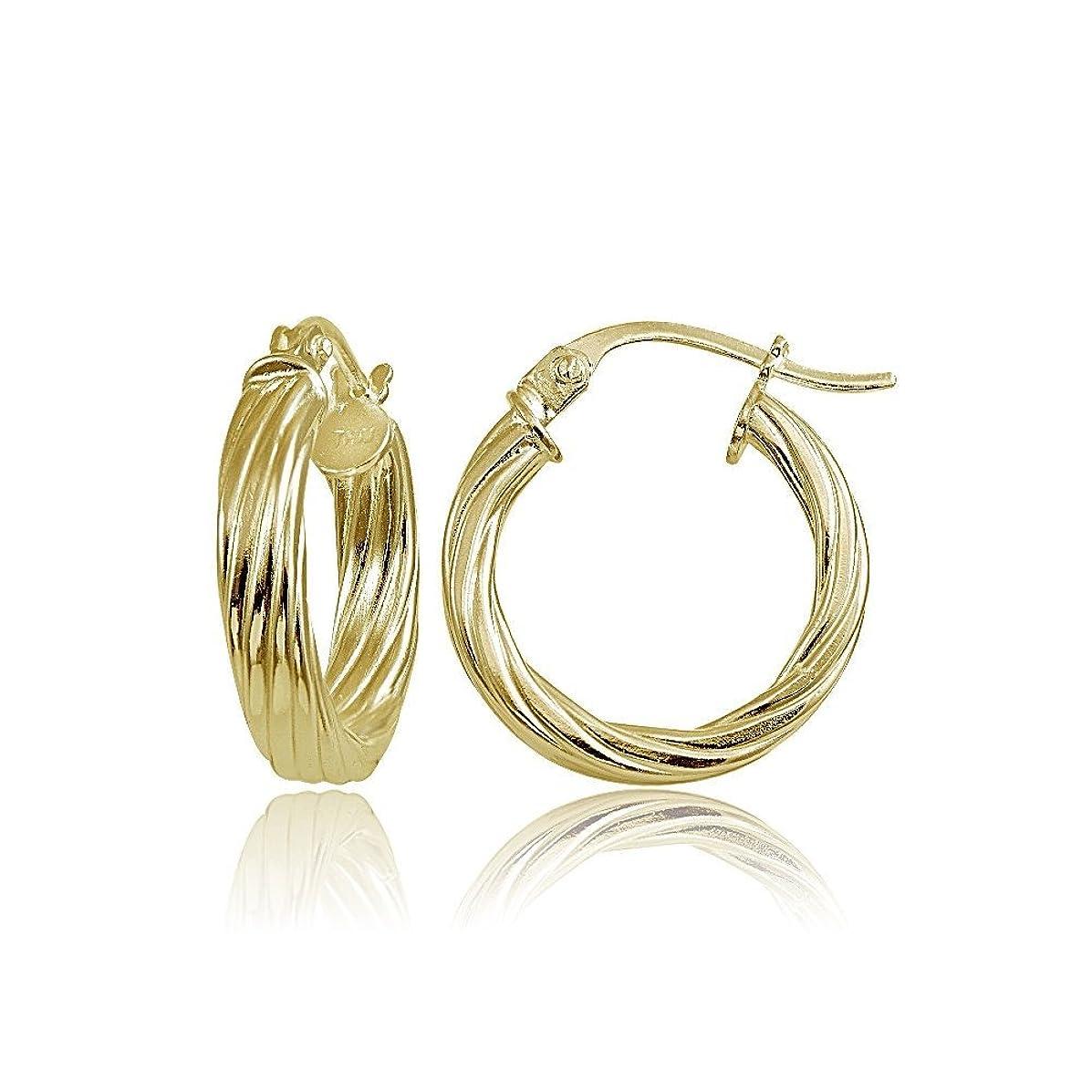 Hoops & Loops Sterling Silver 3mm Twist Design Polished Small Hoop Earrings