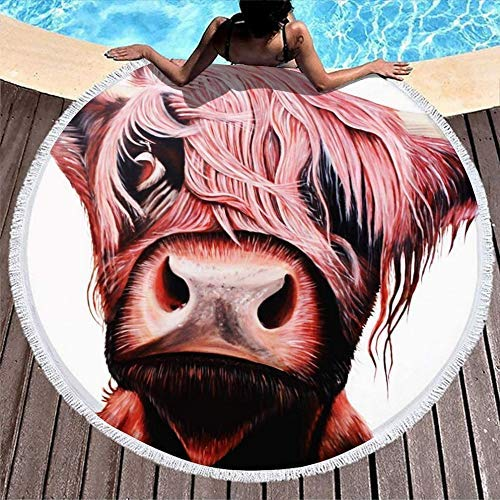 Serviettes de Plage Highland Cow Scottish Native Cattle Art Soft & Large Round Beach Serviettes Fade Proof Pool Towel for Camping Picnic Vacation