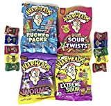 Warheads Candy Variety Pack of 4 (Pucker Packs, Sour Twists, Worms, & Extreme) (1 of each, total of 4)