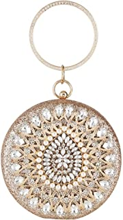 Lanbinxiang @ Women's Luxury Diamond Round Cutout Party Evening Bag Wedding Gift Dress Bride Handbag Chain Cross Shoulder Handbag Wallet Size: 16 * 6 * 16cm (Color : Gold)