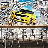 Msrahves Fotomurales 3D Caricatura roto amarillo coche Fotomural Vinilo de Pared Paredes Decoración Hogar fotomurale 3d fotomurale da parete fotomurales decorativos pared papel pintado