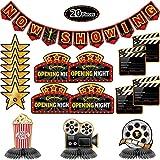 Kit de Decoración de Fiesta de de 20 Piezas Banner Now Showing Centros de Mesa de Panal de Cine Recortes de Noche de Película para Fiesta de Noche de Cine