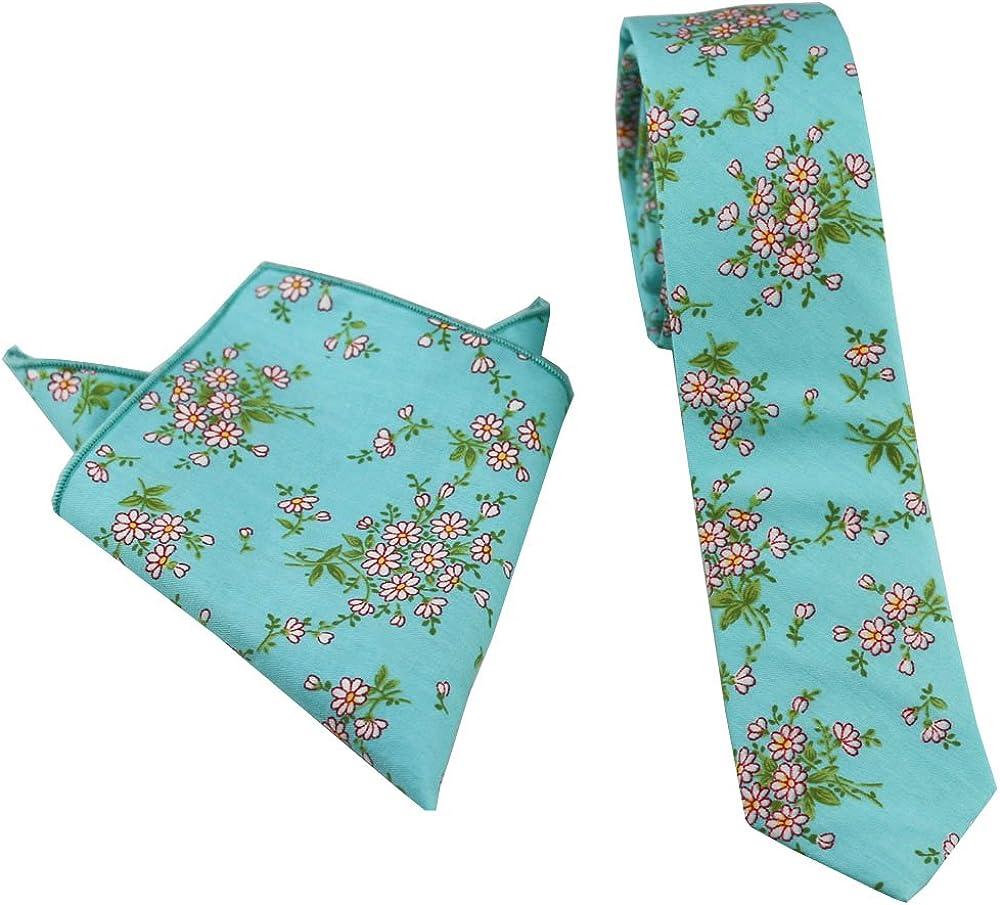Coachella Ties Aqua Green Flowers Cotton Necktie Skinny Tie Pocket Square Bowtie (Tie+Pocket Square)