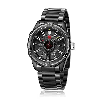 T5 H3616G-D Round Stainless Steel Analog Watch for Men - Black