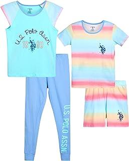 U.S. Polo Assn. Girls' Pajama Set - 4-Piece Short Sleeve T-Shirt, Sleep Shorts, and Joggers (Little Girl/Big Girl), Size ...