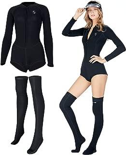 IREENUO Women's Shorty Wetsuit 2mm Neoprene Long Sleeve Wetsuit