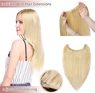 Hidden Invisible Crown Human Hair Extensions One Piece Secret Miracle Wire In Hairpiece With Transparent Fish Line Headband No Clips No Tape For Women #24 Natural Blonde 16'' 60g