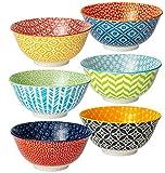 Lawei 6 Pack Cereal Bowls - 23 Oz Dessert Bowls Colorful Hand-Painted Porcelain Bowls Set for Cereal, Soup, Salad and Pasta