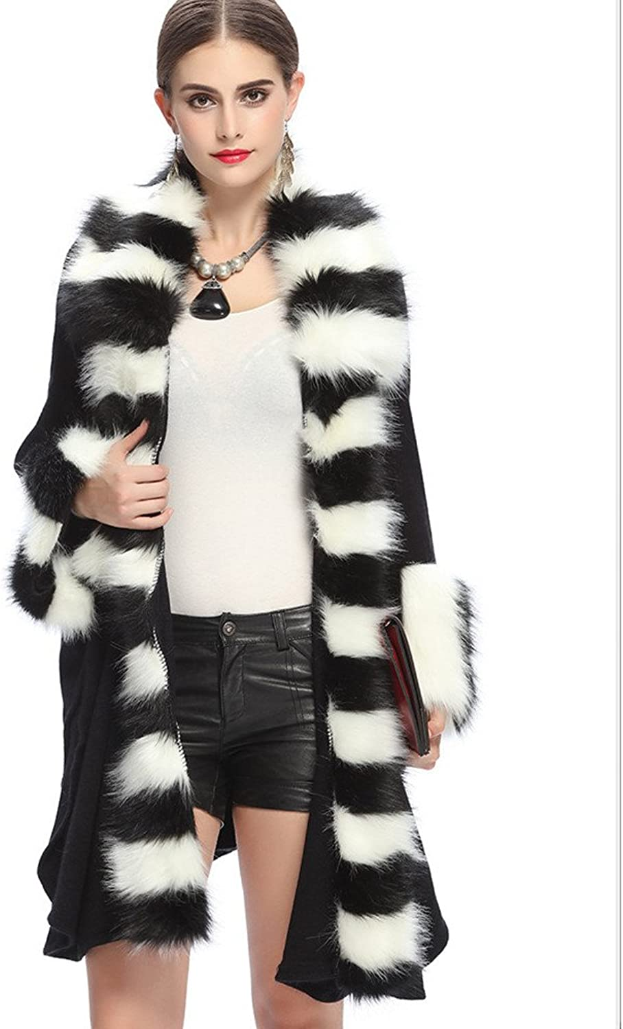 Women Fur Shawl Wraps Cloak Coat OutWare Ladies Faux Fox Fur Loose Hair Collar Knitted Cardigan Shawl