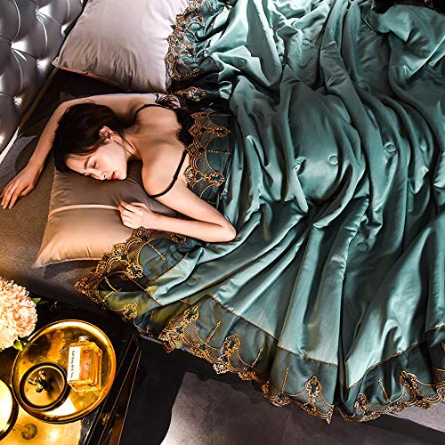Bocotous Summer Cool Duvet Quilt,Silk Lace Comforter Blanket Quilt Duvet,Silk Summer Air Conditioning Comforter Quilt Blanket green 150 * 200cm