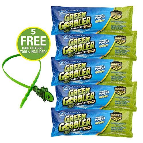 Green Gobbler Drain Opening PAC'S - 8.25 oz 5 Pack. Best Drain Cleaner...