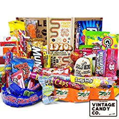 THE ORIGINAL VINTAGE CANDY CO. 1970s RETRO CANDY GIFT FOR MEN AND WOMEN OLD TIME POPULAR 70s CANDY FAVORITES IN A FUN CHILDHOOD KEEPSAKE BOX CELEBRATE A LOVED ONES BIRTHDAY OR EVENT WITH A TRIP DOWN MEMORY LANE INCLUDES OVER 68 PIECES OF CANDY SOLD I...