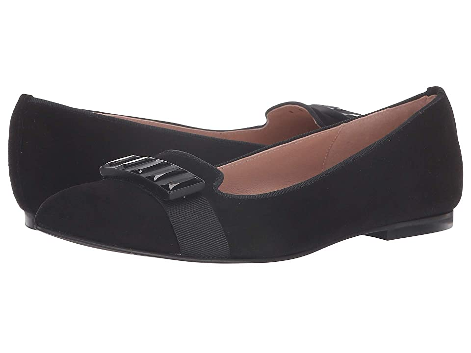 French Sole Chop Flat (Black Suede) Women
