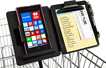 GuysShopper Black- All In 1 Shopping Organizer, 1 Clip On Any Shopping Cart handlebar, Holds any Size Smart Phone/List/Cou...