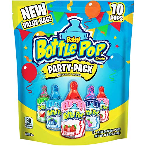 Baby Bottle Pop Lollipops with Dipping Powder, Individually Wrapped Bulk Variety Party Pack - 10 Count Lollipop Suckers W/ Assorted Flavors - Fun Candy for Birthdays & Celebrations