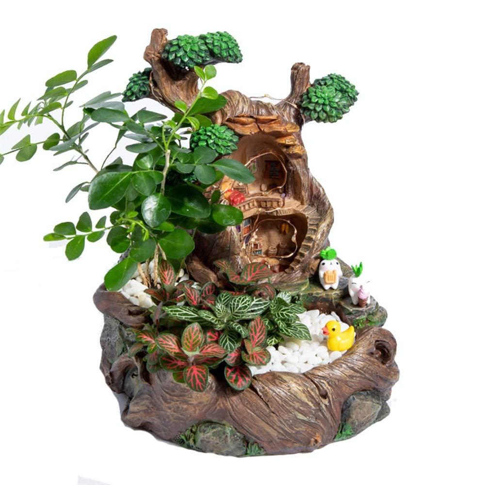 Jardín de Hadas Jardinera Maceta Suculentas Maceta de Flores Jardín de Hadas y Dulce casa para la decoración de Vacaciones Contenedor de Flores (Color : Tree House, tamaño : 26cm*16cm*13cm): Amazon.es: Hogar