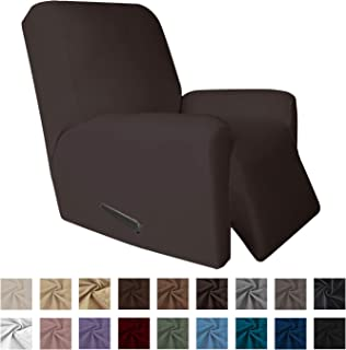 Easy-Going 4 Pieces Microfiber Stretch Recliner Slipcover – Spandex Soft Fitted Sofa Couch Cover, Washable Furniture Protector with Elastic Bottom for Kids,Pet (Recliner,Chocolate