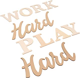 Work Hard Play Hard Sign - Wood Inspirational Quotes Wall Sign, Drawing Stencil Included, Unfinished Wood Letters Cutout for Home, Office, Desk Decoration