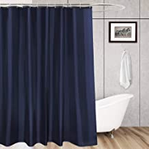 Aoohome Extra Long Shower Liner, Polyester Solid Color Shower Curtain with Hooks, Weighted Hem, Waterproof, 72x84 inch, Navy Blue