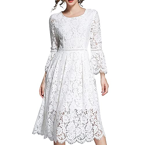 8206c334ea0 Aofur Ladies Vintage Floral White Lace Wedding Dress 3 4 Bell Sleeves Swing Cocktail  Evening