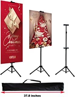 HUAZI Double-Sided Poster Stand,Floorstanding Sign Stand for Display,Height Adjustable up to 73 inches for Board Sign (Stand only)
