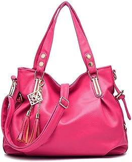 Pu handbag, soft leather shoulder bag, simple crossbody bag, travel bag, multi-layer structure design, can accommodate mobile phones, umbrellas, etc. (Color : Red, Size : One size)
