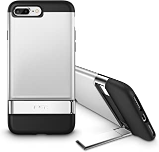 iPhone 8 Plus Case, iPhone 7 Plus Case, ESR Metal Kickstand Case [Vertical and Horizontal Stand] [Reinforced Drop Protection] Hard PC Back with Flexible TPU Bumper for iPhone 5.5 inches(Silver)