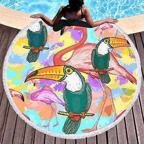 Gbcyp Ronde strandlaken Gedrukte dieren Microfiber badhanddoek voor volwassenen Kinderen Yogamat Sport Grote ronde strandlaken, 2.150x150cm