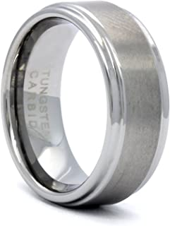 Men's Tungsten Carbide Silver 2 Cut Edge Wedding Band Ring (Available Sizes 8-12)