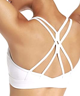 Yaavii Padded Strappy Sports Bra for Women Sexy Cross Back Yoga Bras Workout Gym Casual Tops Activewear